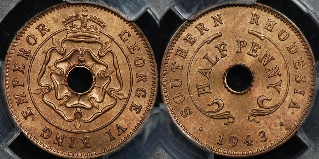 Southern rhodesia 1943 half penny 1 2d km 14a PCGS MS65rb GEM Uncirculated