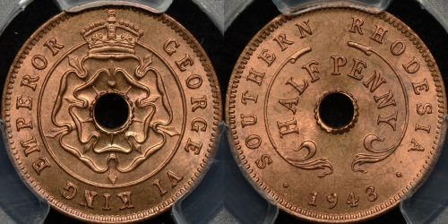 Southern rhodesia 1943 half penny 1 2d km 14a PCGS MS65rd GEM Uncirculated red