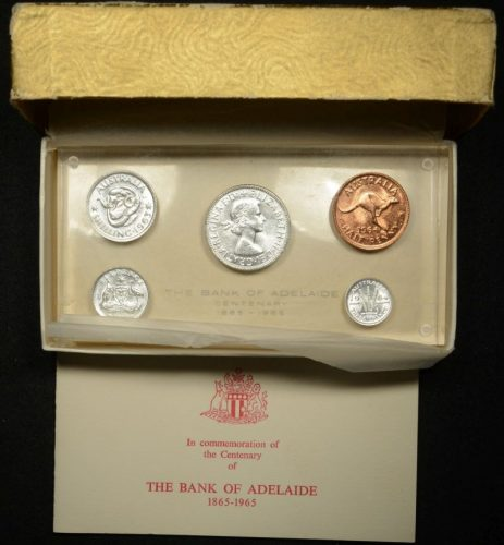 The bank of adelaide centenary 1865 1965 last pre decimal coins with box and certificate.