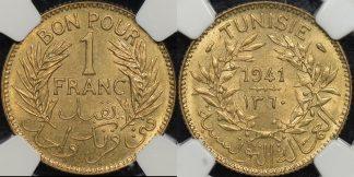 Tunisia 1360 1941 franc km 247 NGC MS64 Choice Uncirculated
