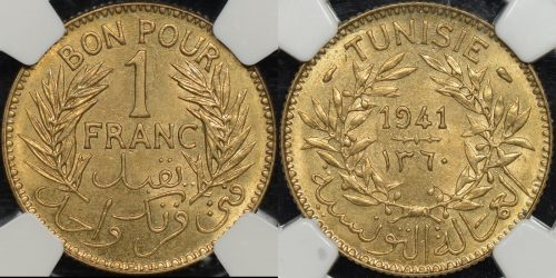 Tunisia 1360 1941 franc km 247 NGC MS64 Choice Uncirculated