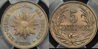 Uruguay 1924 5 centesimos km 21 PCGS MS64 Choice Uncirculated