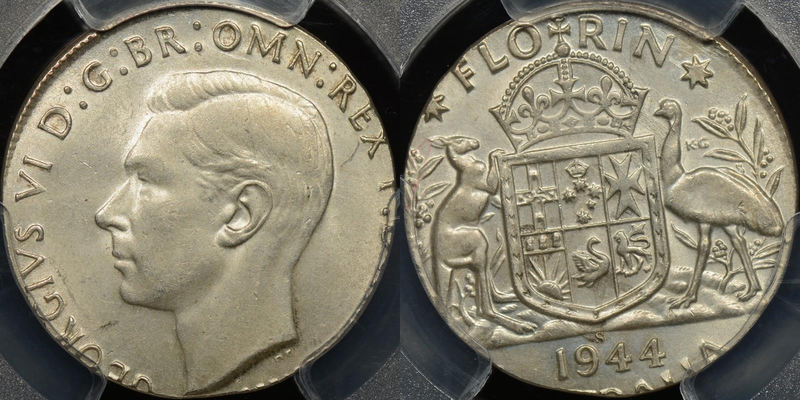 Wrong planchet error Australian 1944s florin struck on shilling planchet Choice Uncirculated PCGS MS63